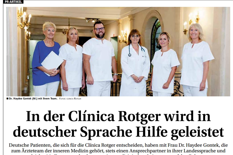 Clínica Rotger refuerza la atención especializada en alemán, en su servicio de medicina interna.