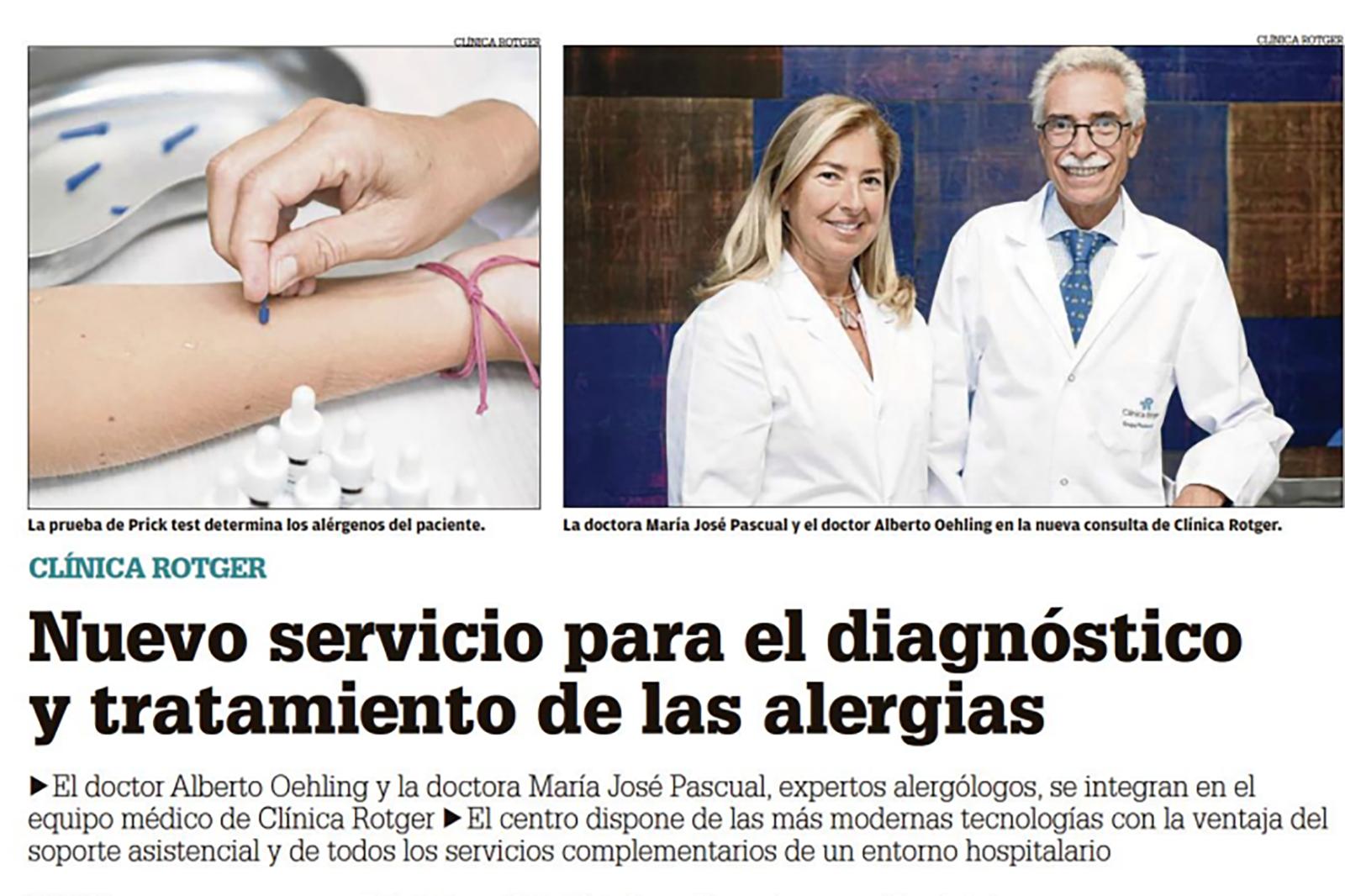 Nuevo servicio para el diagnóstico y tratamiento de las alergias.
