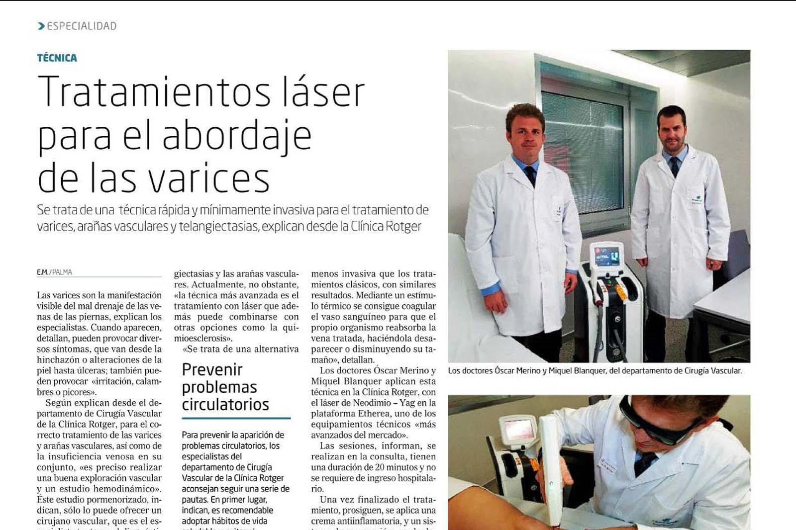 Tratamiento de las Varices con Láser en Clínica Rotger