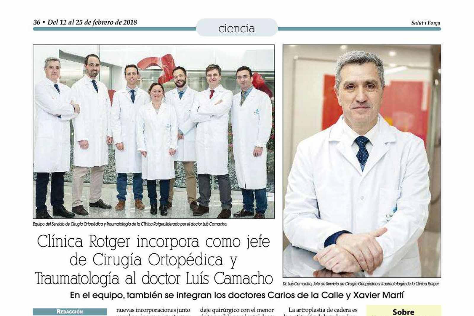 Clínica Rotger incorpora como jefe de Cirugía Ortopédica y Traumatología al Doctor Luís Camacho.