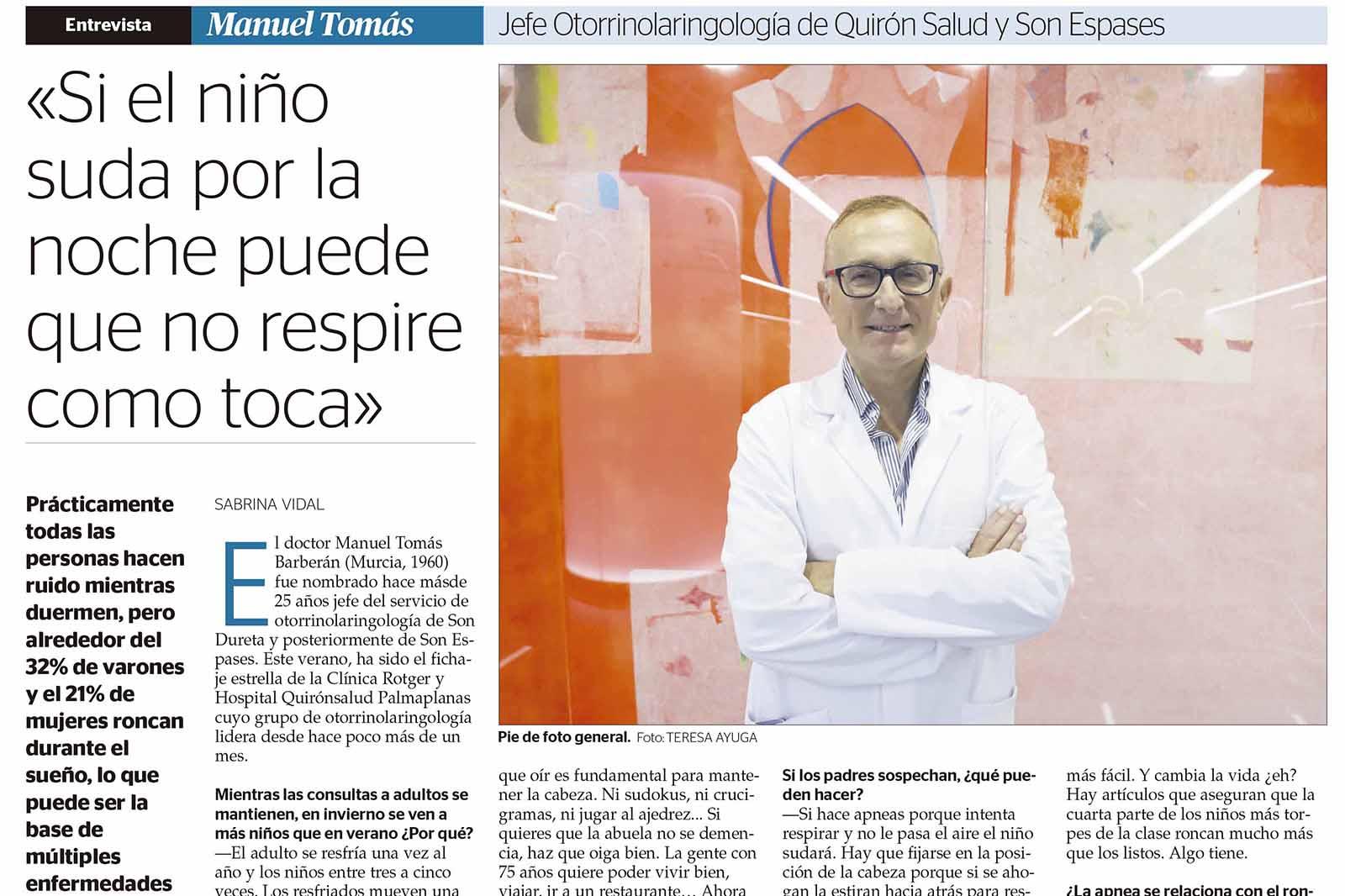 Incorporación Equipo de Otorrinolaringología de referencia – Dr. Manuel Tomás