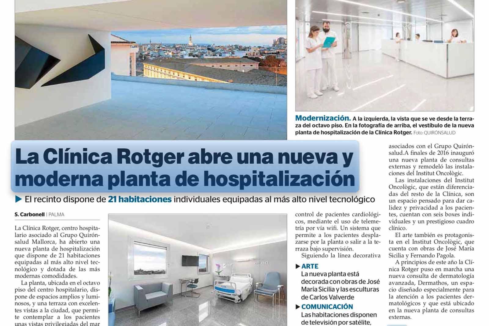 Octava Planta de Hospitalización de Clínica Rotger