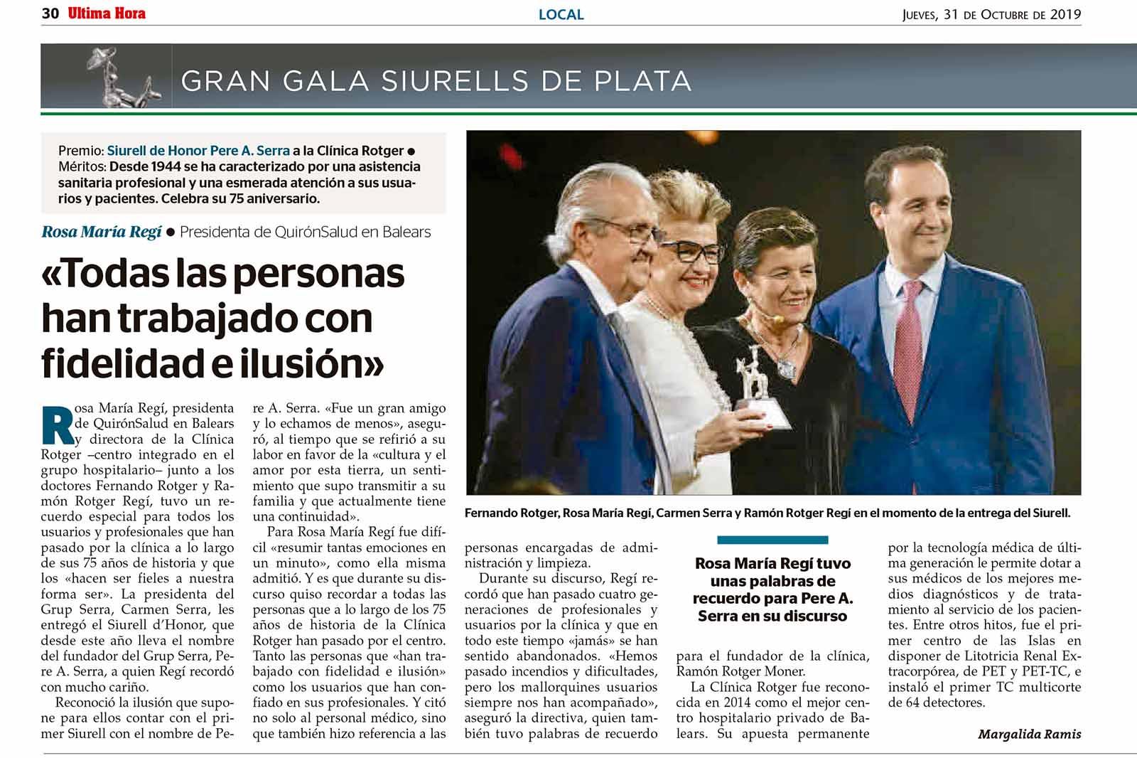 Premios Siurell 2019 – Siurell dHonor a la Clinica Rotger por su 75 aniversario