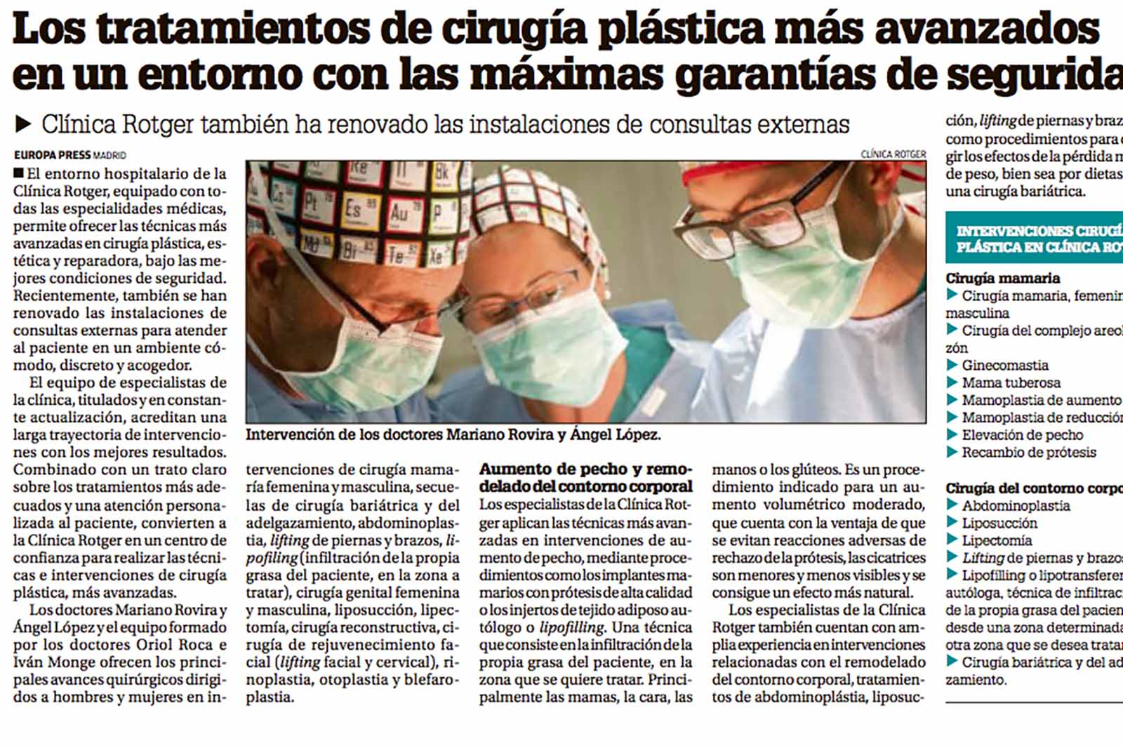 Tratamientos de Cirugía Plástica y Estética en un entorno de seguridad