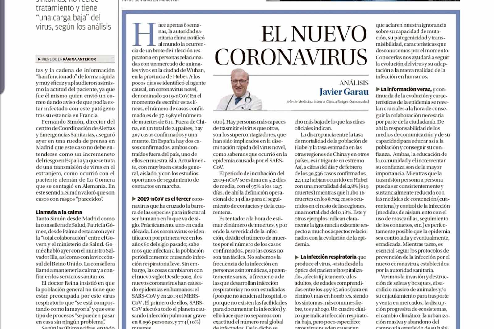 El Coronavirus-Doctor-Javier Garau-Medicina-Interna-Clínica-Rotger-Hospital-Mallorca