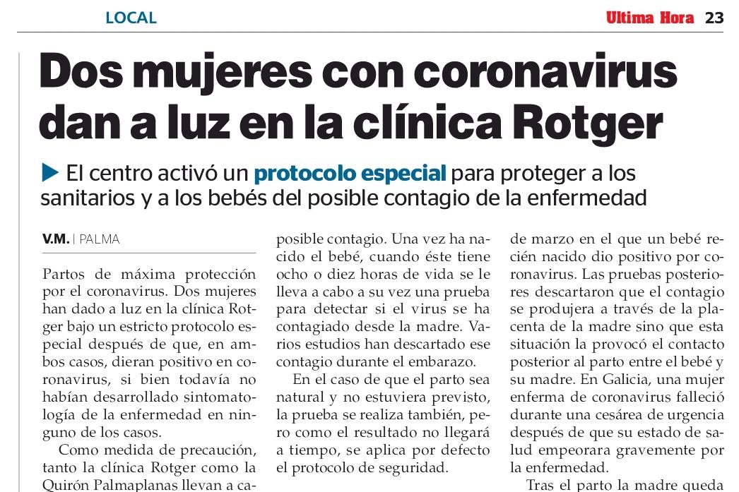 UH - Protocolo Partos COVID-Clínica-Rotger-Hospital-Mallorca