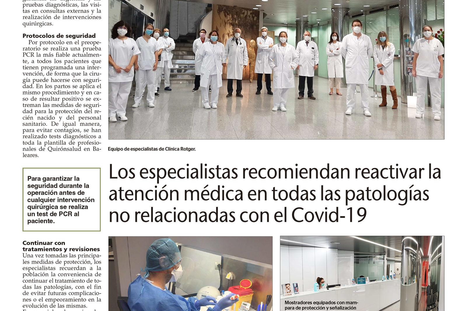 Atención Médica. Ultima-Hora-Activacion Sanitaria-Clinica-Rotger-Hospital-Quironsalud-Palmaplanas