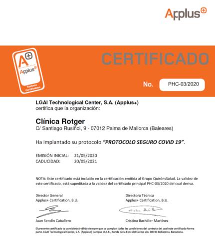 Certificado Applus Clínica Rotger Quirónsalud