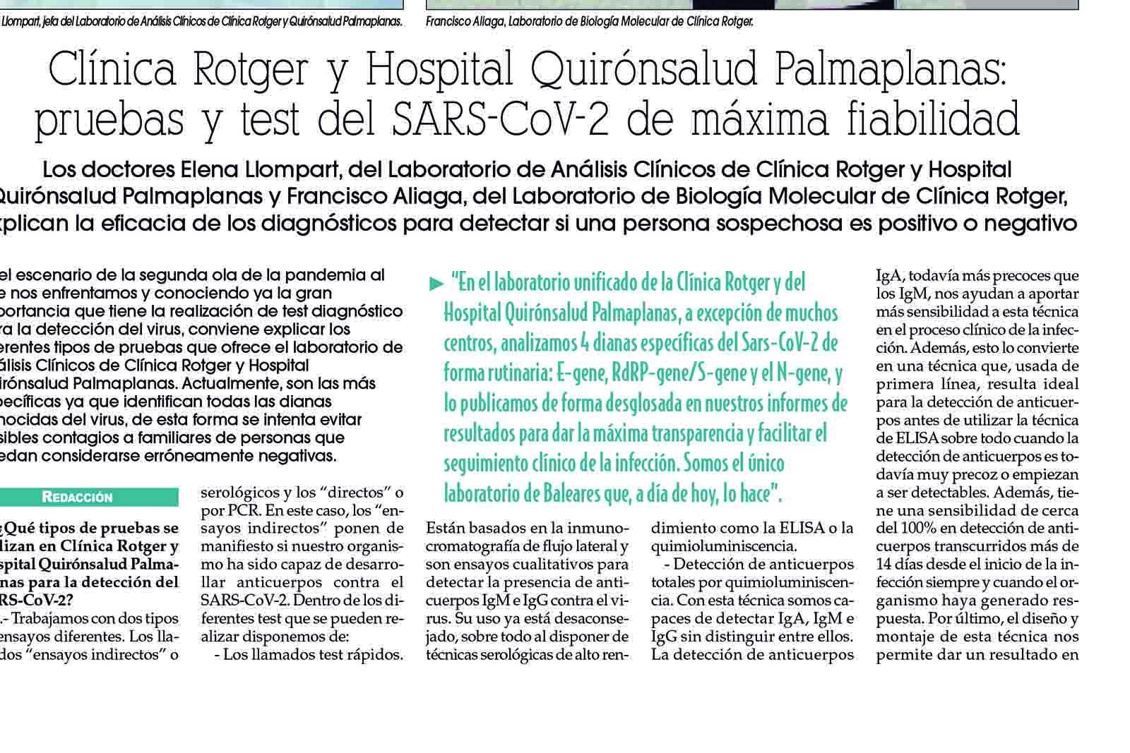 Clínica Rotger y Hospital Quirónsalud Palmaplanas: pruebas y test del SARS-CoV-2 de máxima fiabilidad.