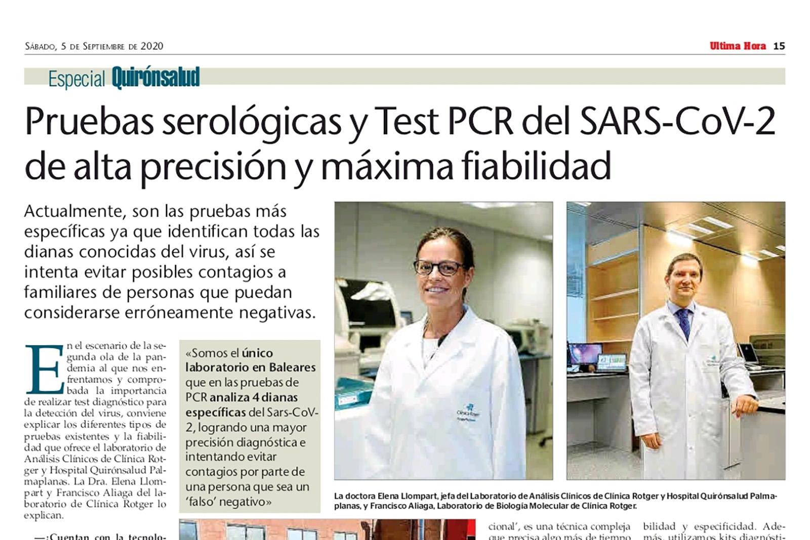 Pruebas serológicas y Test PCR del SARS-CoV-2 de alta precisión y máxima fiabilidad.