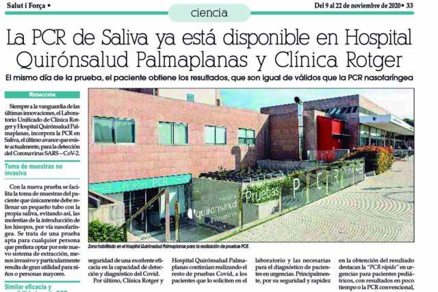 PCR de Saliva en Clínica Rotger y Hospital Quirónsalud Palmaplanas