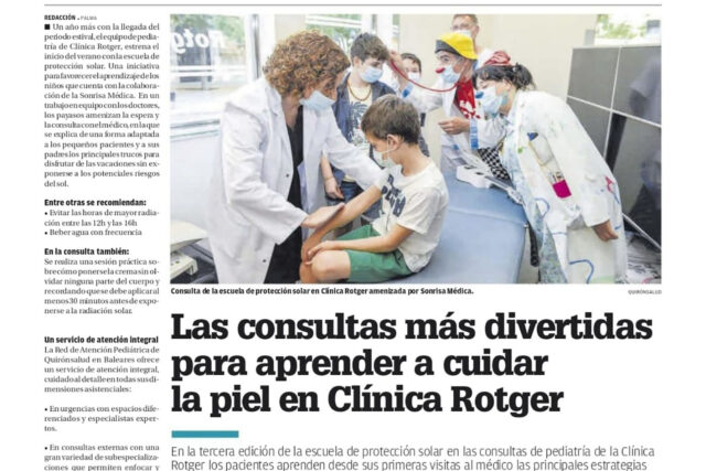 Diario-de-Mallorca-Escuela de Protección Solar-Clínica-Rotger